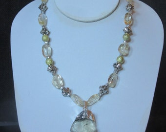 Natural Citrine and Silver necklace