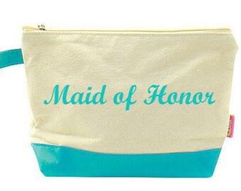 Bridesmaids Gift  Maid of Honor Monogrammed Make Up Bag  Turquoise Monogrammed Cosmetic Bag  Bridesmaid Gift