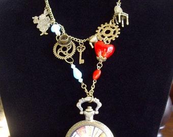 Steampunk Vintage Style Alice In Wonderland Style Pocket Watch Necklace