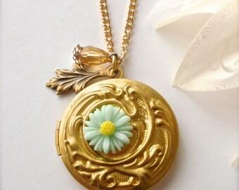 Round Locket Necklace, Swarovski Crystal, Branch Leaf, Mint Flower Brass Locket, Photo Locket, Floral Engraved Locket, Romantic Gift For Her