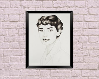 Audrey Hepburn Watercolor Portrait Painting