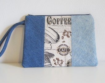 modern denim pouch,  zippered denim pouch, jeans bag, coffee theme,repurposed denim, recycled jeans, reused denim, e-reader bag, nook,kindle
