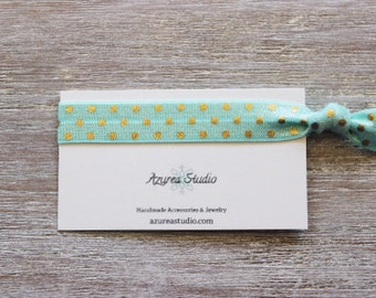 Light Turquiose Gold Polka Dots Shell Hair Tie