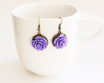 Lilac Purple Rose Earrings
