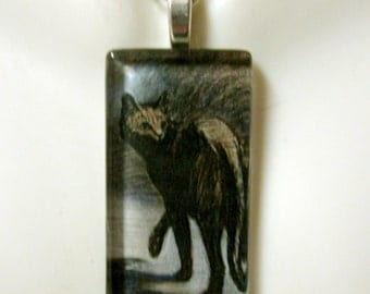 Steinlen black cat pendant and chain - CGP02-135