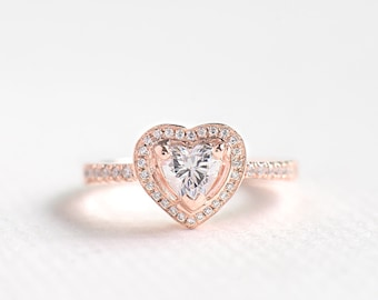 Rose Gold CZ Heart Cut Ring - Sterling Silver Engagement Ring - Unique Engagement Ring - Anniversary Ring - Halo Heart