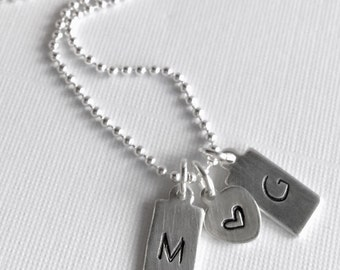Boyfriend Girlfriend Jewelry, Dog Tag Initial Necklace, Personalized Gift for Her, Hand Stamped Charm, Sterling Silver Couples Necklace
