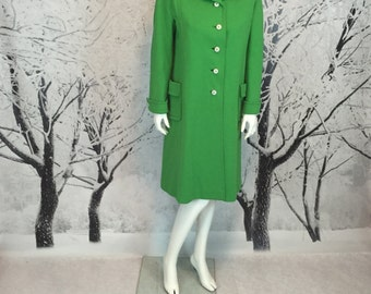 60s Double Knit Coat Shamrock Green Satin Lining Medium Fit Riva Label Excellent Vintage Mad Men Chic Wool Trench Retro Fabulous