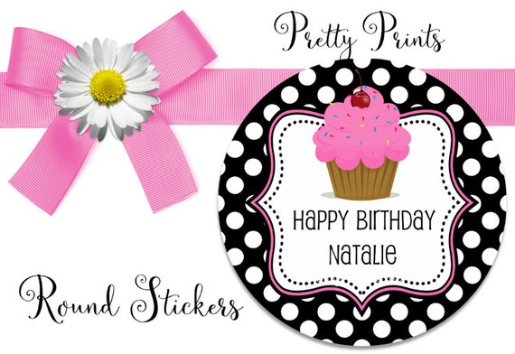 Birthday Stickers - Birthday - Cupcake - Set of 12 - Round Labels - Cupcake Stickers - Custom Stickers - Personalized Labels - Tags