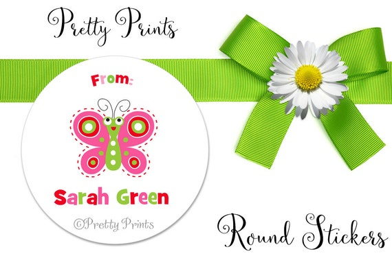 Butterfly Stickers - Butterfly Labels - Personalized Stickers - Round Labels - Personalized Labels - Gift tags