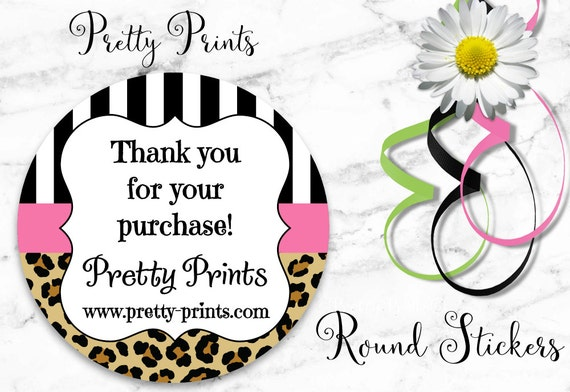 Personalized Stickers - Leopard Print - Pink - Set of 12 - Round Labels - Personalized Labels - Tags - Stickers