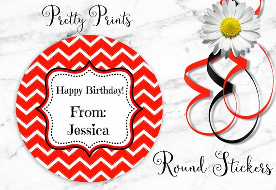 Chevron Stickers - Round Stickers - Red Chevron - Personalized Stickers - Set of 12 Round Labels - Birthday Stickers - Gift Tags