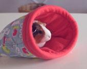 Lab Rat- Guinea Pig Snuggle Sack / Guinea Pig Bed / Science Print / Hot Pink, Green, Light Blue / Sleeping Bag  / Size Large