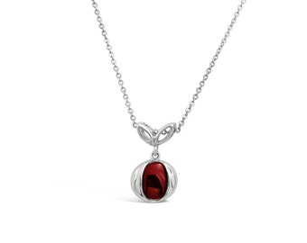 Red Apple Jewelry - Deep Red Apple Necklace Pendant - Red Apple Pendant - Fruit Jewelry - Fruit Charm - Silver Fruit Necklace Pendant