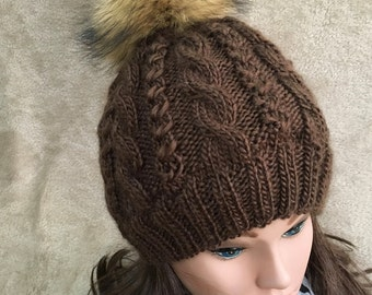 Women Hat Hand Made  Knit Racoon Real Fur Pom Pom Hat SoftWool Blend Alpaca Yarn Slouchy Beanie Winter Hat