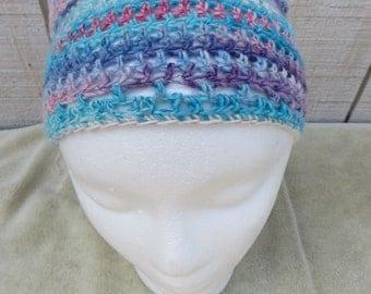 Hand Crocheted Bandana Hair Kerchief made from Handspun Yarn Blue Purple Pink Women Girls Teens Button