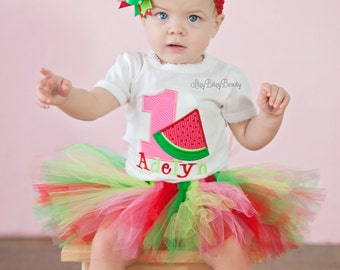 Watermelon Birthday Outfit - Girls Watermelon Birthday Shirt Or Bodysuit - First Birthday Outfit - Girls Watermelon Birthday