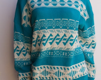 Early 80's Vintage Teal & White Oversize Diane Von Furestenberg Acrylic Sweater