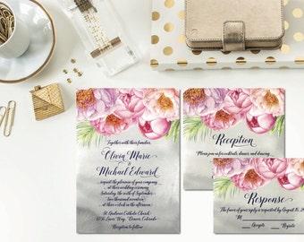 Shades of Peony Wedding Invitation Suite