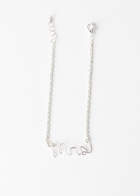 Mrs. Bracelet - Silver Wire Mrs. Bracelet- Bridal Gift - Bridal Shower Bracelet - Bride Jewelry - Mrs. Jewelry - Bridal Jewelry - Bride-Mrs.