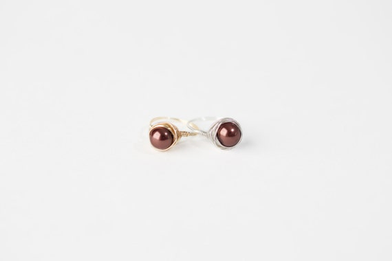 Chocolate Pearl Ring-Brown Pearl Wire Ring-Brown Pearl Silver Wire Ring-Brown Pearl Gold Wire Ring-Silver Wire Ring-Gold Wire Ring