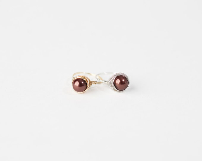 Chocolate Pearl Wire Ring