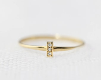 Pave diamond gold bar ring, solid 14k yellow rose white gold, mini bar ring, tiny diamonds ring, simple minimalist stacking ring bar-r101