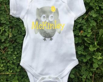 Owl Personalized Onesie - Owl Onesie - Personalized Onesie - Baby Girl Clothing - Onesie with name - Personalized Owl - Baby girl owl