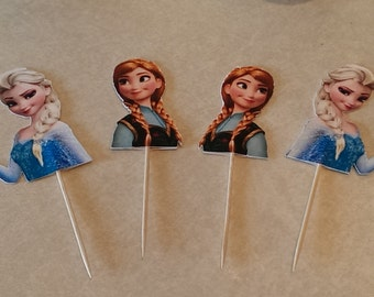 12 Disney Inspired Frozen Elsa, Anna Party Picks - Cupcake Topper - Toothpicks - Food Picks Die Cut Punch Cardstock