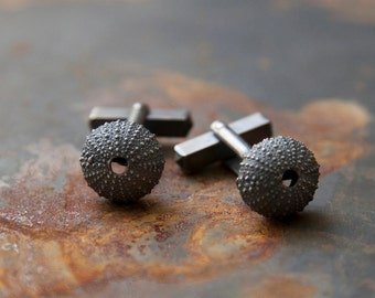 sea urchin cufflinks sterling silver