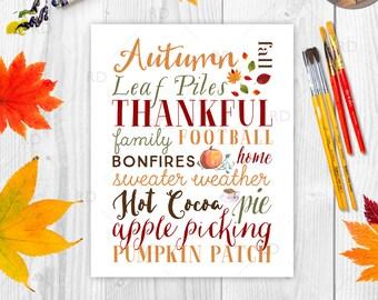 Fall Typography Word Art - PRINTABLE / Fall Subway Art / Holiday Wall Decor / Autumn Subway Art / Autumn Word Art / Fall Word Art Printable