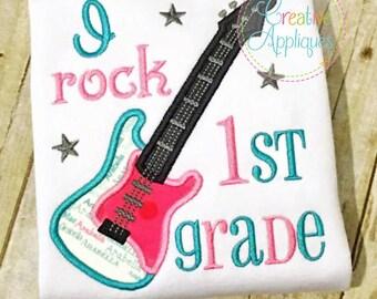 I rock 1st First Grade Digital Machine Embroidery Applique Design 4 sizes