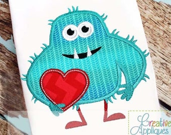 Hairy Valentine Heart Love Monster Digital Machine Embroidery Applique Design 4 Sizes, valentine monster applique, monster embroidery