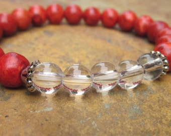 beaded stretch bracelet bohemian bracelet coral & crystal quartz yoga bracelet zen boho bracelet Lavish Lucy stacking stretch bracelet