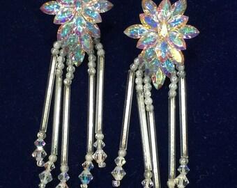 Snowflake Chandelier Rhinestone Earrings