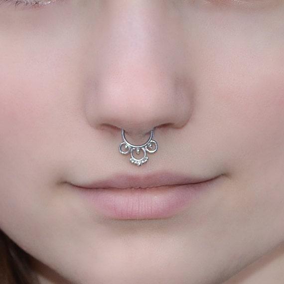 Tribal Septum Ring 16 gauge - Silver Nose Piercing - Septum Piercing - Tragus Ring - Helix Hoop - Cartilage Earring - Septum Jewelry 16g