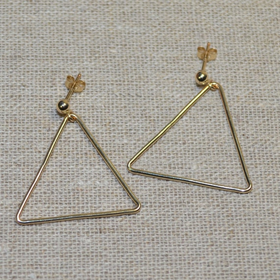 Gold Dangle Triangle Earrings - Long Drop Earrings - Triangle Dangling Stud - Post Earrings - Triangle Drop Earrings