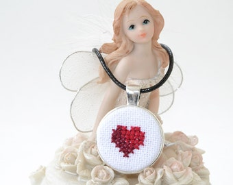FREE SHIPPING Valentine's day Red heart Necklace, Love Embroidered Necklace, Silver Jewelry, Cross stitch Pendant