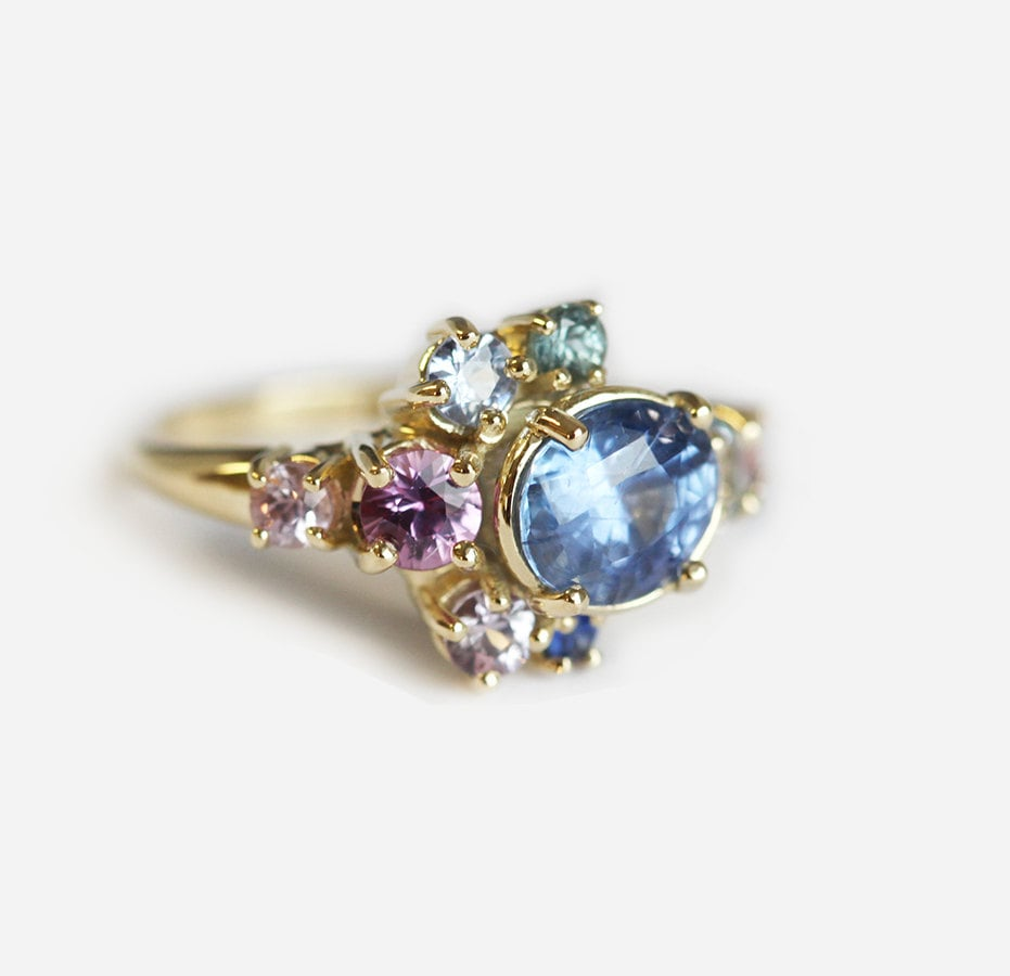 Light blue sapphire ring cluster engagement ring gemstone for Cluster wedding rings