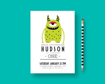Monster birthday invitation, monster invitation, Little Monster Birthday, monster party, Monster First Birthday Invitation