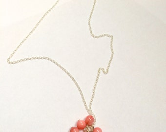 Freshwater Cultured Pearl & Pink Bead Cluster Silver Necklace