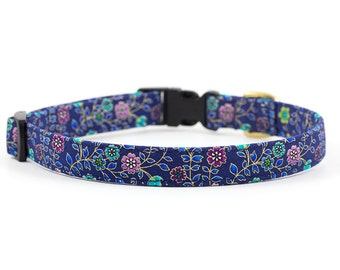 Floral Dog Collar // Size S-L // Adjustable Length // Fabric: Metallic Ditzy Floral