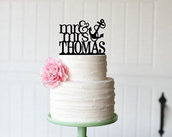 Wedding Cake Topper, Anchor Wedding Cake Topper, Mr and Mrs Wedding Cake Topper, Beach Wedding Cake Topper, Nautical Wedding Cake Topper