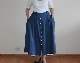 Dirndl Skirt Blue Skirt Original Alpen Trachten Loden Dirndl Full Skirt German Austrian Tyrolean Bavarian Linen Blend Skirt Extra Large Size
