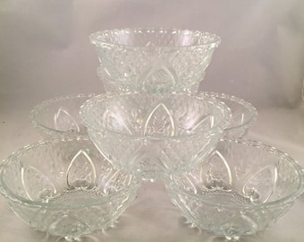 Vintage Pressed Glass Bowls, Footed Bowls, Set of 7