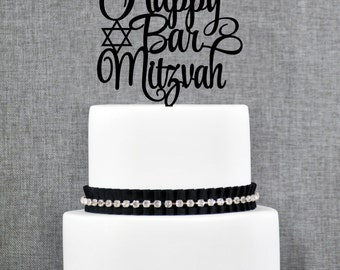 Happy Bar Mitzvah Cake Topper, Elegant Bar Mitzvah Topper, Mitzvah Cake Topper, Jewish Celebration Topper- (T242)