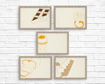 Set of 5 cards - Pastry cards - blank card set - thank you card set - thank you note - card set - gift for chefs - Letterpress notecards