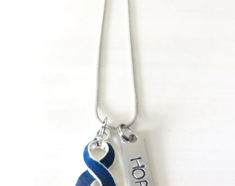 Blue Customizable Awareness Ribbon Stainless Steel Charm Necklace with Optional Add On Charms