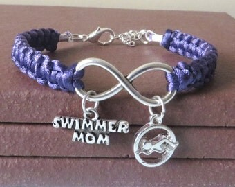 Swimmer Mom Athletic Charm Infinity Bracelet Coach Charm You Choose Your Cord Color(s)