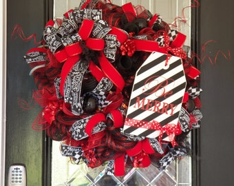Deluxe Christmas Wreath, Christmas Decoration, Holiday Wreaths, Front door Wreaths, Red and Black Christmas Wreath